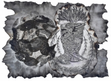 contemporary Mixed-media Art Drawing title 'Rural Life Culture And Its Politics Seri' by artist Sagar Suresh Naik Mule
