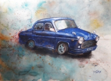 Transportation Watercolor Art Painting title 'Vintage Series 1' by artist Kanchan Hande