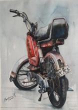 Transportation Watercolor Art Painting title 'Vintage Series 6' by artist Kanchan Hande