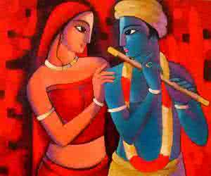 Krishna With She | Painting by artist Sekhar Roy | acrylic | Canvas