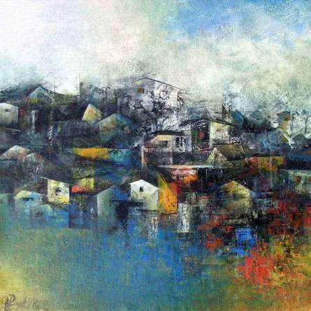 Abstract Acrylic Art Painting title Distant View of a Village by artist M Singh