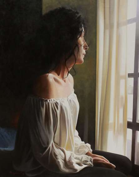 Figurative Oil Art Painting title 'Nostalgia' by artist Jose Higuera