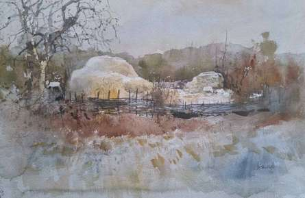 Cityscape Watercolor Art Painting title Odhisa Village by artist Bijay Biswaal
