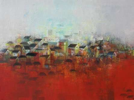 The Village | Painting by artist M Singh | acrylic | Canvas