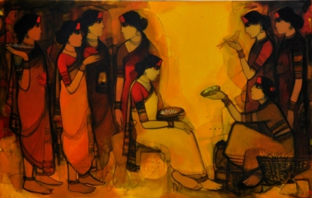 Selling Flowers | Painting by artist Sachin Sagare | Acrylic | Canvas