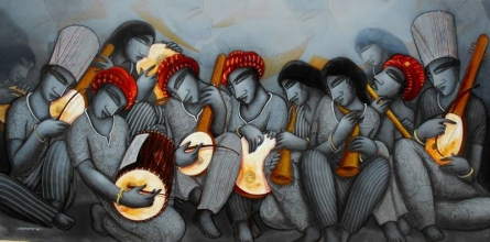 Samir Sarkar | Acrylic Painting title Musicians on Canvas | Artist Samir Sarkar Gallery | ArtZolo.com