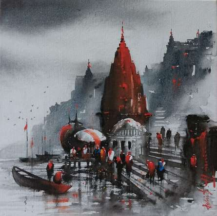 Cityscape Acrylic Art Painting title 'Banaras Ghat 14' by artist Ashif Hossain