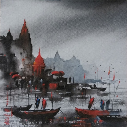 Cityscape Acrylic Art Painting title Banaras Ghat 12 by artist Ashif Hossain