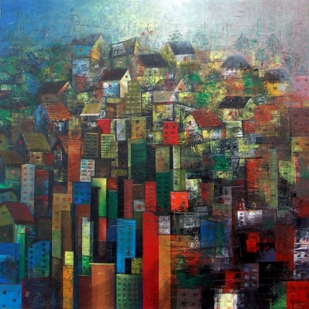 Abstract Acrylic Art Painting title 'High Rise' by artist M Singh