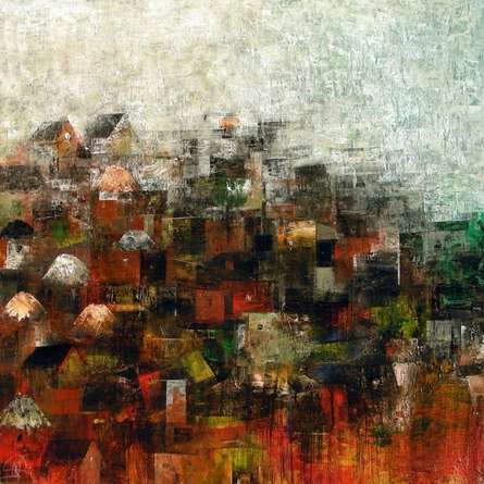 M Singh Paintings | Abstract Painting - My Village by artist M Singh | ArtZolo.com