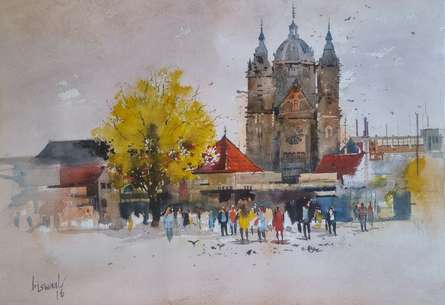 Cityscape Watercolor Art Painting title Birmingham Noon by artist Bijay Biswaal