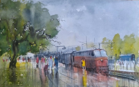 Cityscape Watercolor Art Painting title Wet Platform by artist Bijay Biswaal