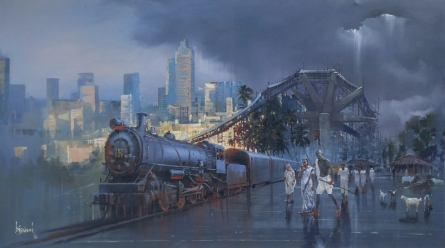 Cityscape Acrylic Art Painting title 'Wet Platform Gandhi' by artist Bijay Biswaal