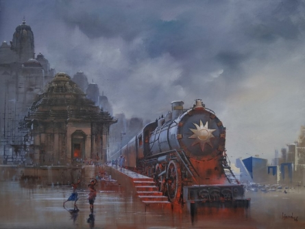 Cityscape Acrylic Art Painting title 'Wet Platform Odhisa' by artist Bijay Biswaal