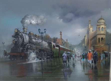 Wet Platform Lucknow | Painting by artist Bijay Biswaal | acrylic | Canvas