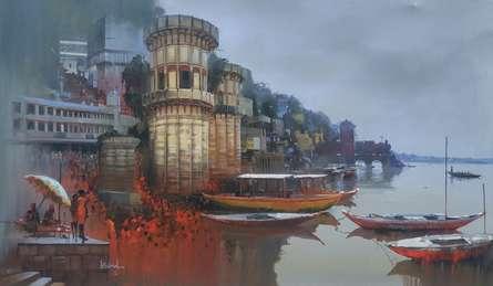 Bijay Biswaal | Acrylic Painting title Banaras Ghat on Canvas | Artist Bijay Biswaal Gallery | ArtZolo.com