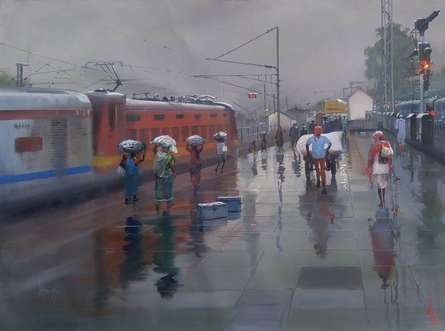 Cityscape Acrylic Art Painting title Wet Platform by artist Bijay Biswaal