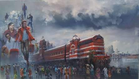 Wet Platform Chennai | Painting by artist Bijay Biswaal | acrylic | Canvas