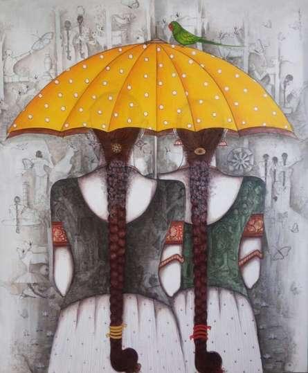 Yellow Umbrella | Painting by artist Kappari Kishan | acrylic | Canvas