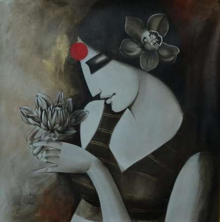 Kamal Nath | Acrylic Painting title Indian Woman on Canvas | Artist Kamal Nath Gallery | ArtZolo.com