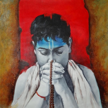 Figurative Acrylic Art Painting title 'Aastha II' by artist Kamal Devnath