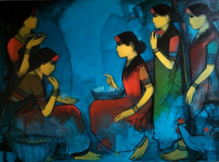 Figurative Acrylic Art Painting title 'Gossip' by artist Sachin Sagare