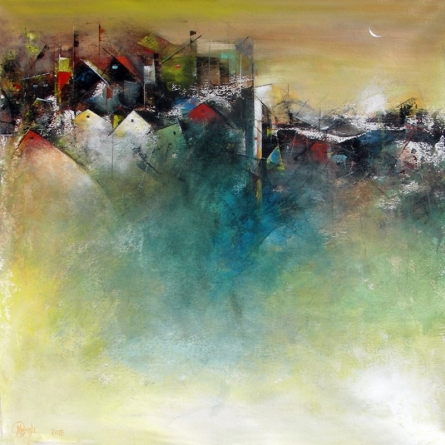 Abstract Acrylic Art Painting title The Distant View Of A Village by artist M Singh