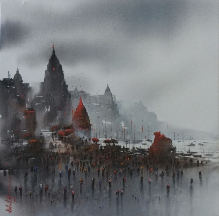 Cityscape Acrylic Art Painting title 'Banaras Ghat 22' by artist Ashif Hossain