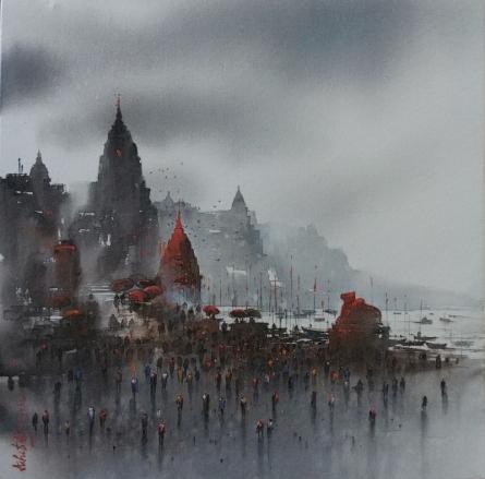 Cityscape Acrylic Art Painting title Banaras Ghat 22 by artist Ashif Hossain
