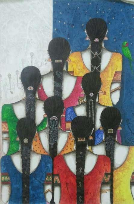 Figurative Acrylic Art Painting title Friends III by artist Kappari Kishan