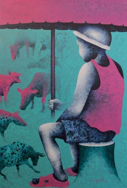 Lakhan Singh Jat | Acrylic Painting title Athkheliyan 78 on Canvas | Artist Lakhan Singh Jat Gallery | ArtZolo.com