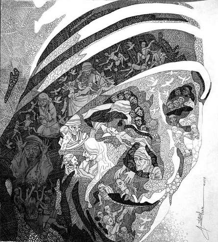Pen-ink Paintings | Drawing title Mother Teresa on Paper | Artist Amit Bhar