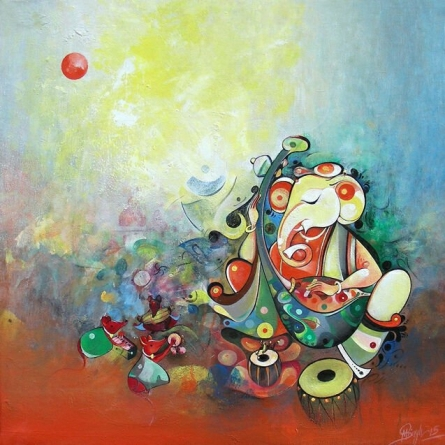 Religious Acrylic Art Painting title 'Ganesha playing Music' by artist M Singh