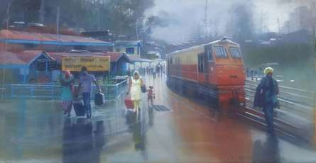 Cityscape Acrylic Art Painting title 'Wet Platform Himanchal' by artist Bijay Biswaal