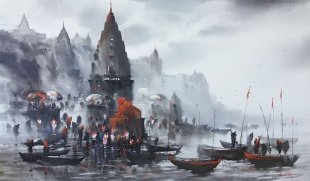 Banaras Ghat 36 | Painting by artist Ashif Hossain | acrylic | Canvas