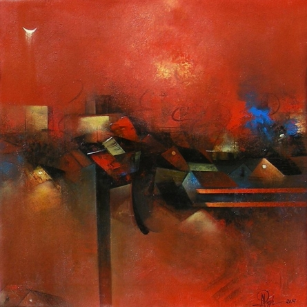Village In Red | Painting by artist M Singh | acrylic | Canvas