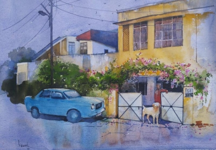 Cityscape Watercolor Art Painting title Home by artist Bijay Biswaal