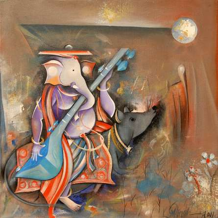 Religious Acrylic Art Painting title 'Ganesha Playing Sitar' by artist M Singh