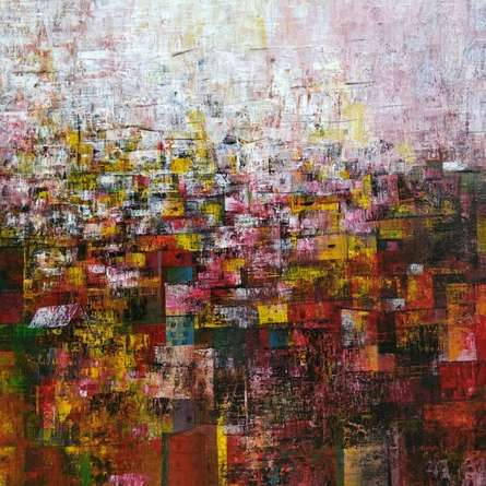 Abstract Acrylic Art Painting title Holi in Village by artist M Singh