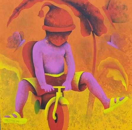 Figurative Acrylic Art Painting title 'Athkheliyan 12' by artist Lakhan Singh Jat