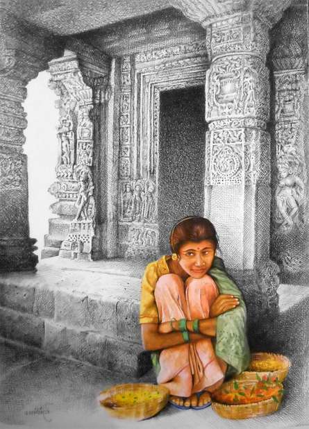 Realistic Mixed-media Art Painting title 'Flower Girl' by artist Milind Varangaonkar
