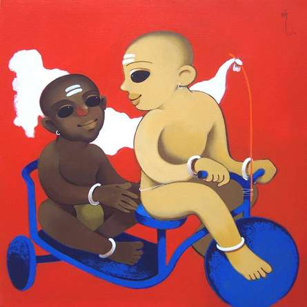 Figurative Acrylic Art Painting title 'Childhood' by artist Prakash Pore