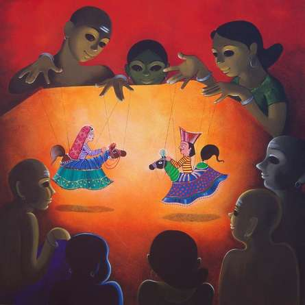 Dance Drama | Painting by artist Prakash Pore | acrylic | Canvas