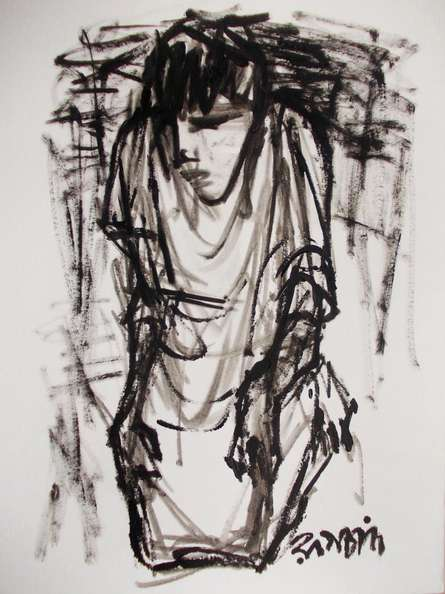 Figurative Pen-ink Art Drawing title 'Pain 2' by artist Rupchand Kundu