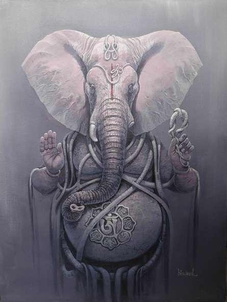 Religious Acrylic Art Painting title 'Gajanan II' by artist Bijay Biswaal