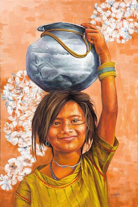 Realistic Acrylic Art Painting title 'Village Girl' by artist Milind Varangaonkar