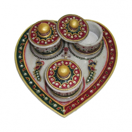 Designer Heart Shaped Tray | Craft by artist Ecraft India | Marble