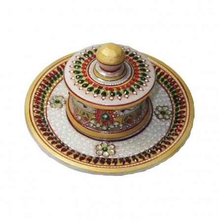 Designer Round Tray | Craft by artist Ecraft India | Marble