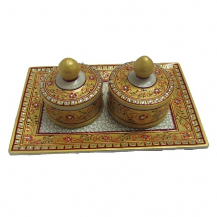 Ecraft India | Floral Decorative Box Tray Craft Craft by artist Ecraft India | Indian Handicraft | ArtZolo.com