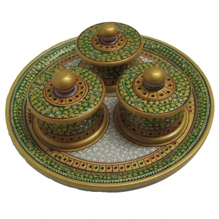 Decorative Circular Box Tray | Craft by artist Ecraft India | Marble